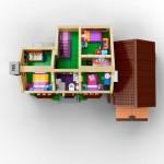 Lego Simpsons set 7106 maison vue haut
