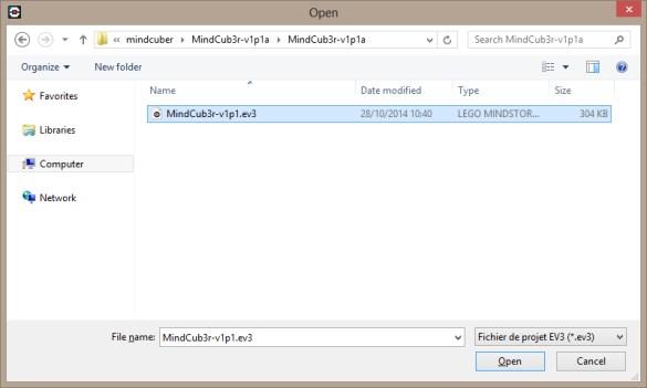 Windows ouvrir projet